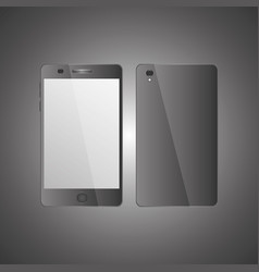 mobile phone front view and back side with shadows vector image