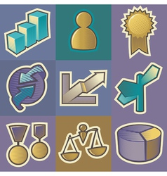 Multicolored business icons vector image vector image