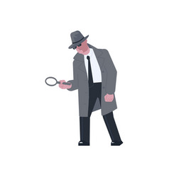 mysterious man holding a magnifying glass vector image