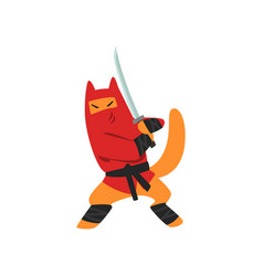 Ninja dog character fighting with a katana sword vector