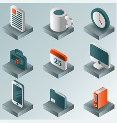 office color gradient isometric icons vector image