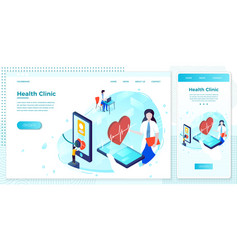 Online health hologram help business set vector