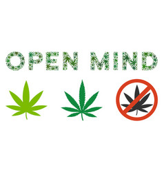 open mind text composition of hemp leaves vector image