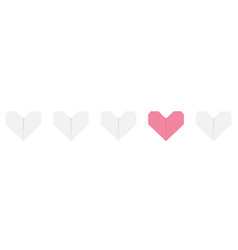Origami paper heart icon set white and pink color vector