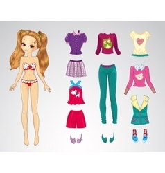 Paper Brown Hair Casual Doll vector