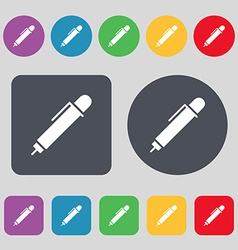 pen icon sign A set of 12 colored buttons Flat vector image