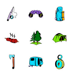 picnic icons set cartoon style vector image