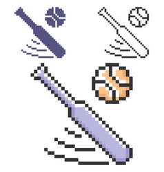 Pixel icon baseball in three variants fully vector