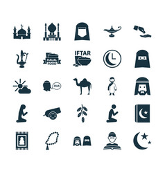 Ramadan icons set collection of building vector