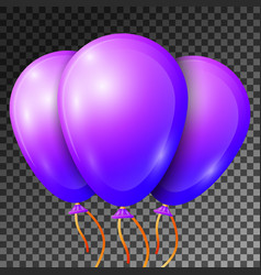 realistic purple or violet balloons with ribbons vector image