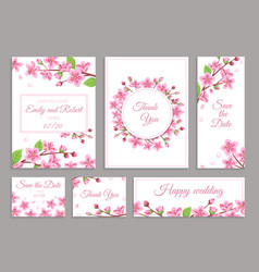 sakura cards cherry blossom wedding invitation vector image