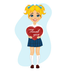 Schoolgirl holding red heart with thank you text vector