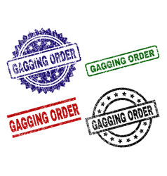 Scratched textured gagging order stamp seals vector
