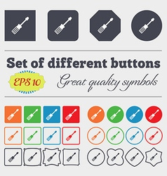 screwdriver icon sign Big set of colorful diverse vector image
