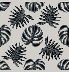 Seamless pattern with hand drawn stylized monstera vector