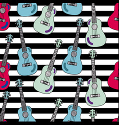 Seamless pattern with ukulele vector