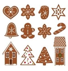 Set of gingerbread figures vector image