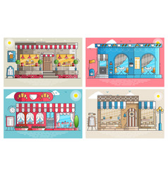 set of small cute coffee houses and cafe buildings vector image