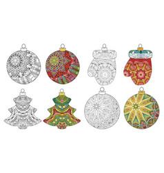 set of zentangle stylized christmas decorations vector image