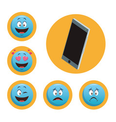 set smartphone and chat emoticons vector image