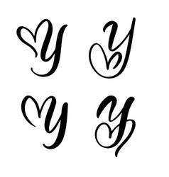 set vintage floral letter monogram y vector image