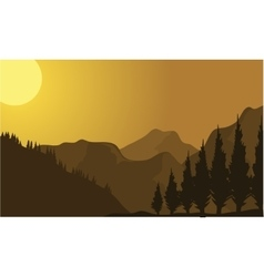 Silhouette of mountain at sunrise vector
