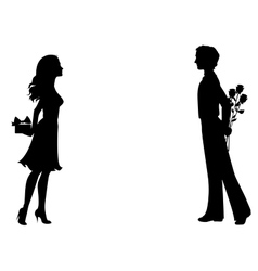 Silhouettes man and woman with gifts vector