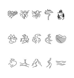 simple valleys rivers and mountains icons vector image