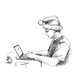 sketch man in christmas hat working with vector image