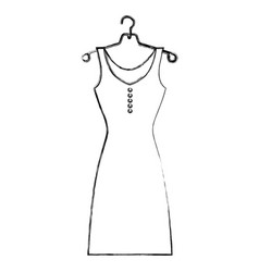 sketch silhouette female dress in hanger vector image
