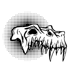 Skull of danger beast with huge fangs vector