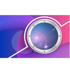 Spaceship porthole on multicolored background vector