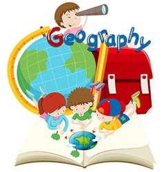 Students and geography subject vector