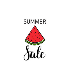 summer sale calligraphy watermelon background vector image