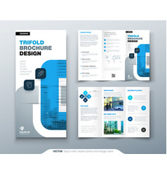 Tri fold brochure design with square shapes vector
