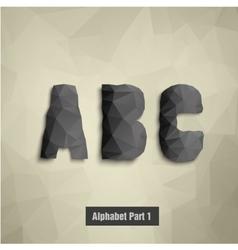 Triangular dark alphabet A B C vector