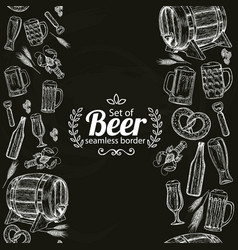Vertical seamless borders of beer icons on black vector
