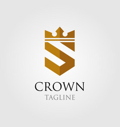vintage crown logo and letter s symbol vector image