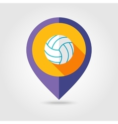 Volleyball flat mapping pin icon with long shadow vector