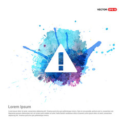 Warning icon - watercolor background vector