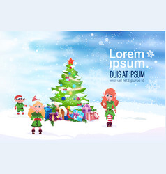 Winter holiday decoration banner green elfs and vector