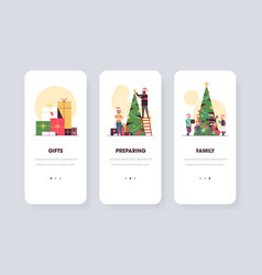 Winter holidays preparation concepts collection vector