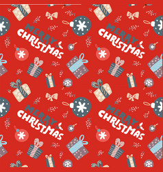 winter seamless pattern with hand written vector image