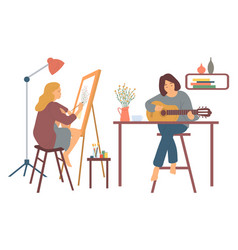 Woman playing guitar and painting pictures hobby vector