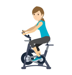 young woman doing exercise on static bike vector image