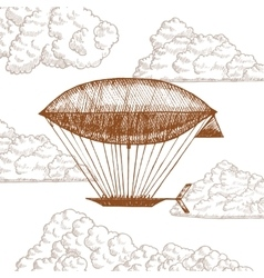 Zeppelin in Clouds on Sky Hand Draw Sketch vector