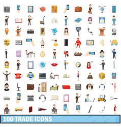 100trade icons set cartoon style vector image vector image