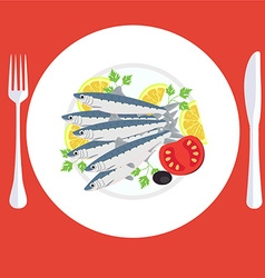 A of grill prepared sardines fish with lemon and vector image vector image
