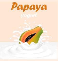 a splash of milk from a falling papaya and drops vector image vector image