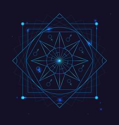 Alchemy geometry symbol thin line vector